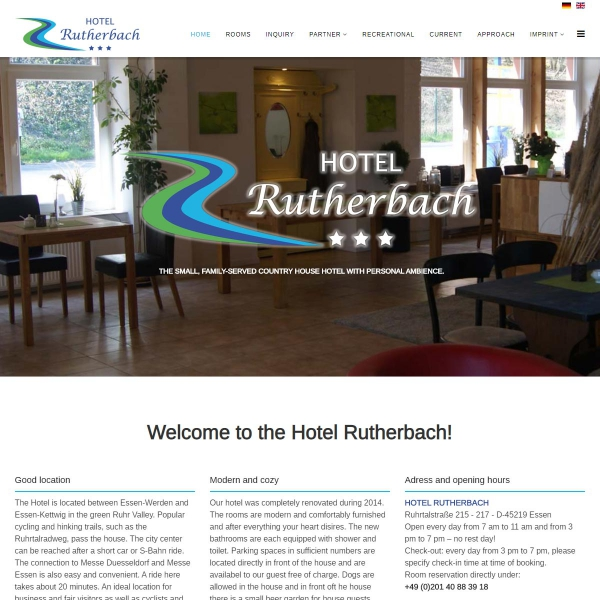 Hotel Rutherbach Website since September 2019 bilingual